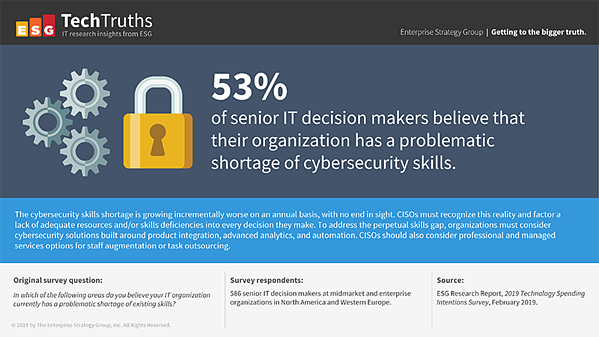 53% of senior IT decision makers believe that their organization has a problematic shortage of cybersecurity skills.