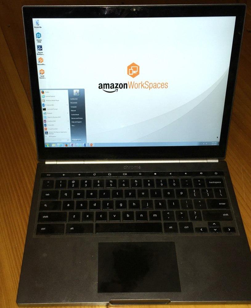 Microsoft Windows on a Google Chromebook Hosted at Amazon